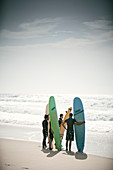 Young surfer with longboards, Vieiie Saint Girons, French Atlantic Coast, Aquitaine, France