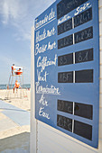 Table with tide and temperature data, Bademeisterturm, Arcachon, French Atlantic Coast, Aquitaine, France