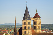St. Dionys church in Esslingen am Neckar, German half-timbered street, Swabia, Baden-Wuerttemberg