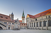 Castle Dankwardrode, Town Hall Tower and St. Blasii Cathedral on Burgplatz in Braunschweig, Lower Saxony, Northern Germany