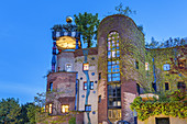 Hundertwasserhaus at the Quellenpark in Bad Soden in the Taunus, Main-Taunus-Kreis, Hesse