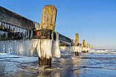 Icy jetty in the Baltic Sea, Travemünde, Baltic Sea coast, Schleswig-Holstein, Northern Germany