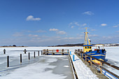 Frosty backwaters with fishing cutter Nordstern at Neppermin, Usedom Island, Baltic Sea coast, Mecklenburg-Vorpommern, Northern Germany
