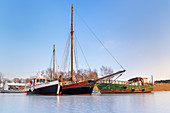 Small harbor of Zecherin on the Peenestrom, Usedom Island, Baltic Sea coast, Mecklenburg-Vorpommern, Northern Germany