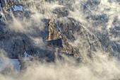 View from the Alpspitze to the clouds in the Wetterstein Mountains, Garmisch-Partenkirchen, Werdenfelser Land, Upper Bavaria, Bavaria