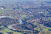 Blick auf Lenggries von der Hochalm auf dem Schergenwieser Berg, Oberbayern, Bayern, Deutschland