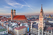 View of the old town of Munich with New Town Hall and Frauenkirche, Munich, Upper Bavaria, Bavaria