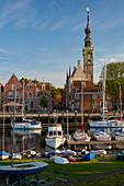 View over the harbor on Veere, Veerse Meer, Walcheren peninsula, Zeeland province, Netherlands, Holland