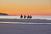 Rider at sunset on the beach at Vrouwenpolder, Walcheren peninsula, Zeeland province, North Sea, Netherlands, Holland