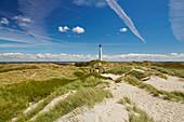 Leuchtturm Lyngvig Fyr bei Nörre Lyngvig, Jütland, Nordsee, Dänemark, Europa