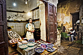 Fishmonger in the old town of Fes, Morocco, Africa