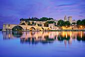 Bridge of Avignon, Pont St. Benezet at dusk, Pope palace, Rhone, France