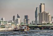 Bangkok Skyline with Chao Phraya River, Thailand, Asia