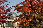 The Reichstag, Parliament and Bundestag, in autumn, Tiergaten, Berlin