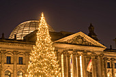 Christmas tree in front of the Reichstag in Berlin