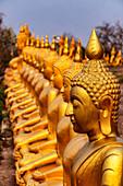 Golden Buddha statues, Wat Phu Salao, Champasak, Pakse, Laos