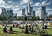 Liegewiese am Mainufer gegenüber Bankenviertel, Commerzbank, Frankfurt am Main