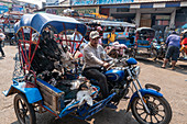 Market in Pakse, man on motorcycle with poultry, Laos