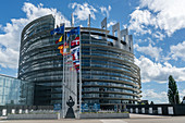 National flags of European nations in front of the EU Parliament in Strasbourg
