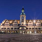 Uhrenturm, altes Rathaus von Leipzig, Sachsen, Deutschland
