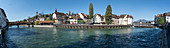 Panorama on the river Reuss in Lucerne, Switzerland