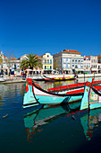 Colorfully painted boats on the canal in Aveiro, Beira Litoral, Portugal