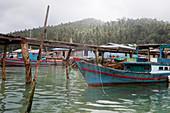 Fishing village on Pulau Matak in morning light, Matak, Anambas, Indonesia
