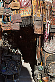 Leather goods and souvenir shop in the medina and the souks of Marrakech, Marrakech, Morocco