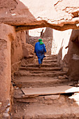 Bedouin in the alleys of the Kasbah Ait Ben Haddou, Ait Ben Haddou, Morocco