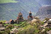 Farmhouses with Haghpat Monastery near Alverdi, Caucasus, North Armenia, Asia