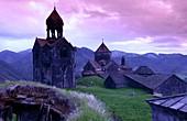 Evening light of Haghpat Monastery complex near Alverdi, Caucasus, northern Armenia, Asia