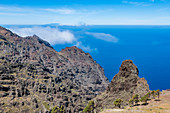 The cliff overlooking the Atlantic Ocean and the island of El Hierro in the background, Valle Gran Rey, La Gomera, Canary Islands, Spain