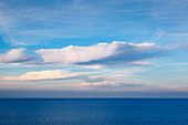 Clouds over the sea, view from the Königsstuhl, Jasmund National Park, Rügen, Baltic Sea, Mecklenburg-Vorpommern, Germany