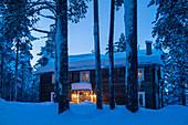Winterlicher Pinienwald mit Holzhaus am Abend, Heggenes, Norwegen