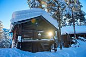Norway, winter, twighlight, Heggenes,surroundings Hotel Herangtunet,  Boutique Hotel, traditional Norwegian barn