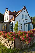Flower arrangement at the Friesenhaus, Amrum, North Sea, Schleswig-Holstein, Germany