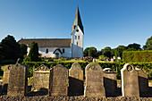 Gravestones in the cemetery, St. Clement's Church, Nebel, Amrum, North Sea, Schleswig-Holstein, Germany
