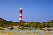Lighthouse in the dunes, Amrum, North Sea, Schleswig-Holstein, Germany