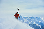 Skiers in deep snow, Austria, ski tours, freeride, Tyrol, wintry mountains