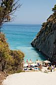 Xigia sulfur beach with hot sulfur springs on the beach, Bay of Xigia, Zakynthos, Ionian Islands, Greece