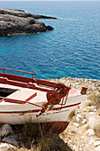 Old fishing boat on the cliffs in the bay of Porto Limnionas, Zakynthos, Ionian Islands, Greece