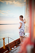 9-year-old girl on foresail, TWO-SIDED SIR SHACKLETON ON THE AMMERSEE Ammersee, Bavaria Germany * Lake Ammer, Bavaria, Germany