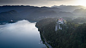 Bled lake with Bled Castle, Triglav National Park, Slovenia