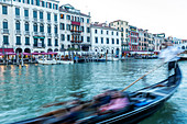 Blurred gondola on Grand Cana in Venice, Italy