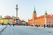 Sigismund's Column and Royal Castle in Castle Square in the old town, UNESCO World Heritage Site, Warsaw, Poland, Europe