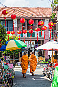Monks in George Town, UNESCO World Heritage Site, Penang Island, Malaysia, Southeast Asia, Asia