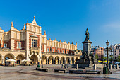 Cloth Hall and the Adam Mickiewicz Monument, in the Main Square, medieval old town, UNESCO World Heritage Site, Krakow, Poland, Europe