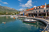 View of boats in the harbour in Cavtat on the Adriatic Sea, Cavtat, Dubrovnik Riviera, Croatia, Europe