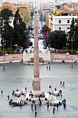 Piazza del Popolo, Egyptian obelisk and Four lions' fountain, Rome, Lazio, Italy, Europe