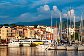 Boats moored in the small harbour of Saint Florent in northern Corsica, France, Mediterranean, Europe